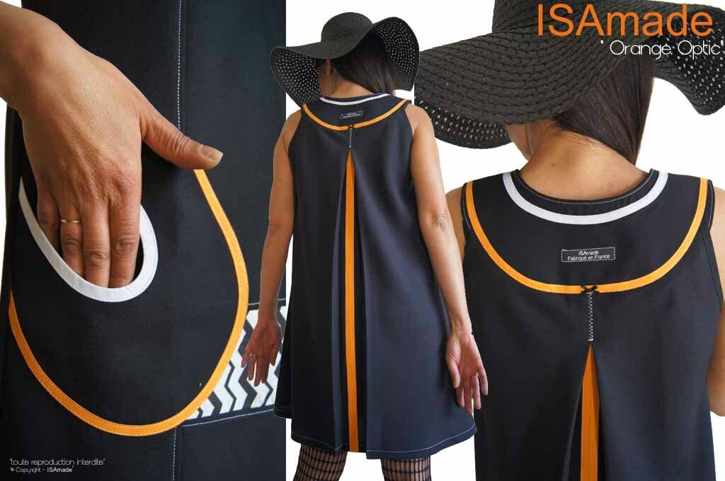 MOD 393B robe Printemps 2016 Trapèze bicolore noire Orange blanc motif geometrique (1)