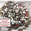 Pizza au sarrasin /graines de chia...tomates, champignons et feta