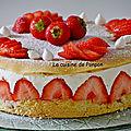 Fraisier au sirop de fraise-basilic et liqueur de basilic, sans beurre