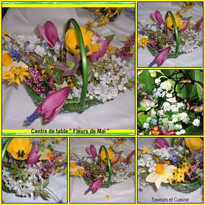 Centre de table fleurs de Mai