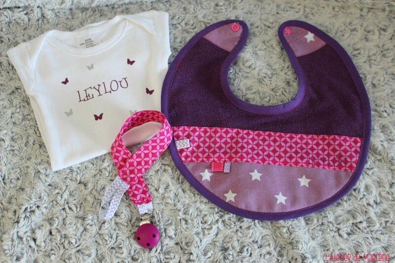 kit bébé body bavoir attache sucette LEYLOU