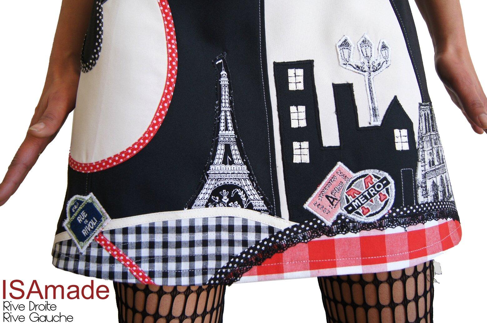 Robe maille Noir Blanc Rouge Look graphique & patch Imprimé Vichy et Pois