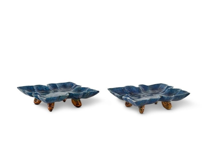 A pair of blue-glazed quatrefoil dishes, Tang dynasty (618-907)