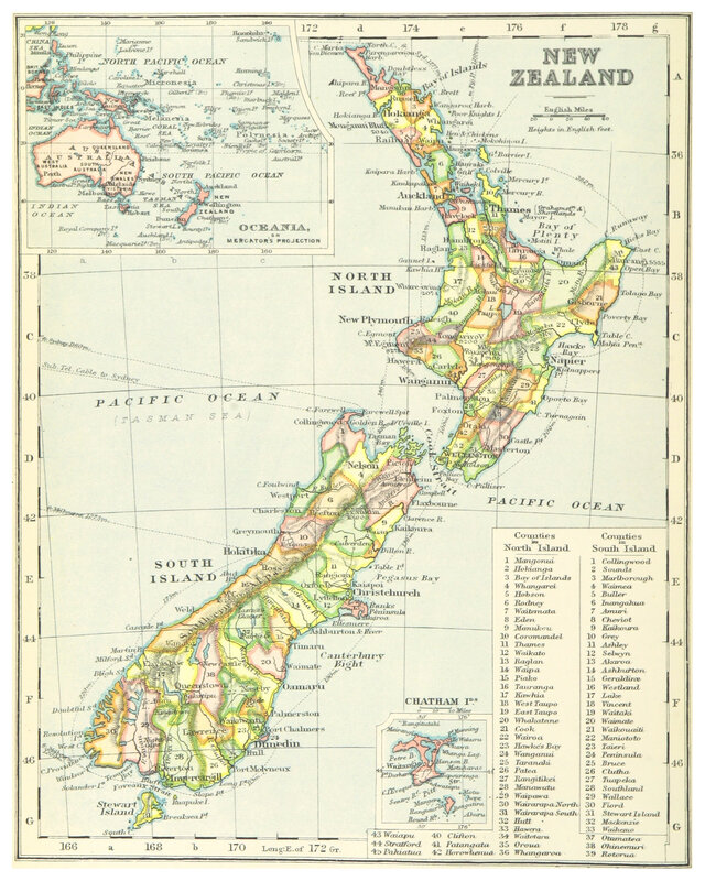 MAP OF NEW ZEALAND 1899