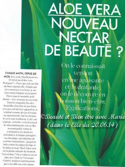 l 39 alo v ra article paru dans elle le beaut et bien tre avec marie durand lr. Black Bedroom Furniture Sets. Home Design Ideas