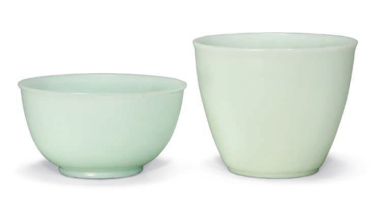 A white glass bowl and cup, 18th-19th century