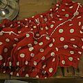 Culotte en coton rouge à pois blancs et serpentine blanche devant - taille 34 (2)
