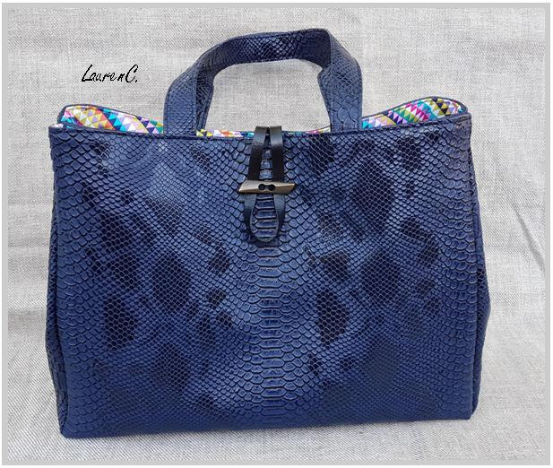 SAC CABAS DRAGON MARINE INTERIEUR MULTICOLORES