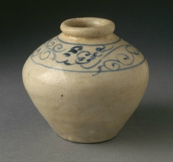 Squat Jar with Cursive Floral Scroll, Vietnam, circa 1400 (earliest type)