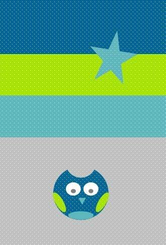 couverture bébé hibou étoiles pétrole anis turquoise gris