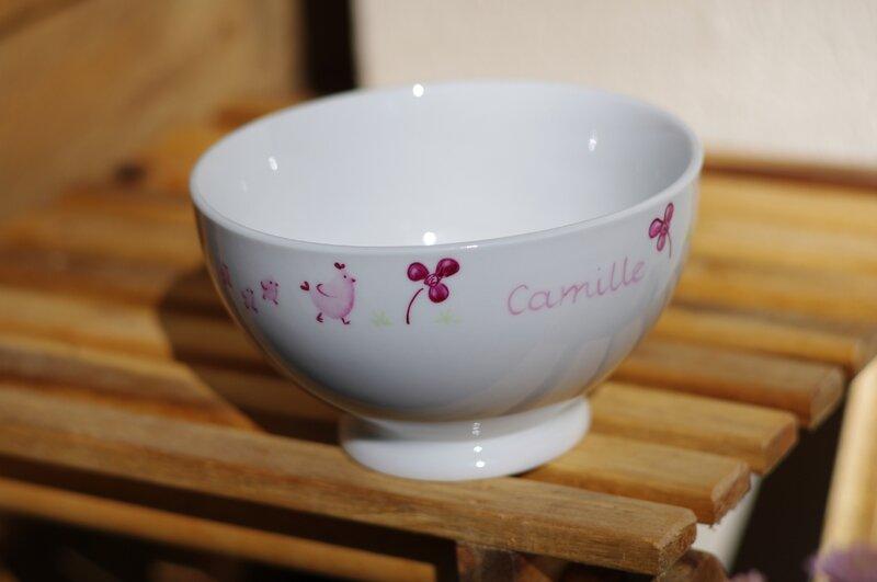 Porcelaine peinte à la main bol animaux personnalisé Camille