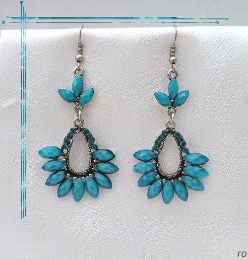 Boucles d'Oreilles Style Tibétain Indira Perle Et Strass Turquoise Argent du Tibet