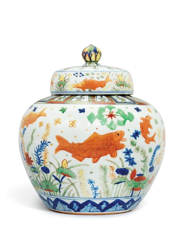 A highly important and extremely rare wucai 'Fish' jar and cover, Jiajing six-character mark in underglaze blue and of the period (1522-1566)