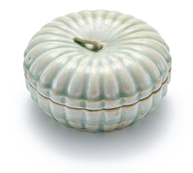 A Qingbai melon-shaped box and cover, Song–Yuan dynasty (960-1368)