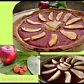 Tarte facile aux pommes et à la compote de fraises et rhubarbe