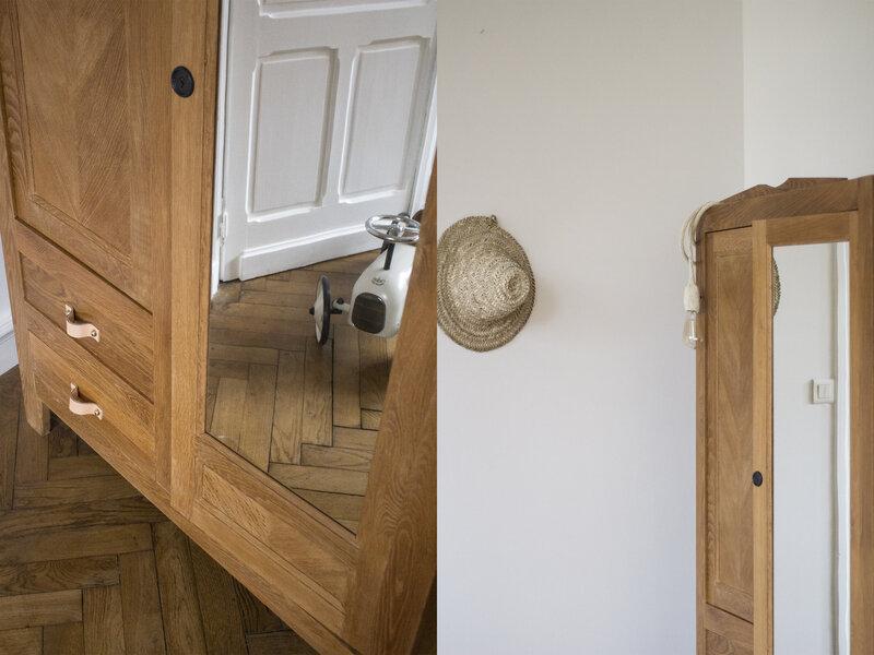 Armoire penderie deux portes miroir chene naturel TRENDY LITTLE