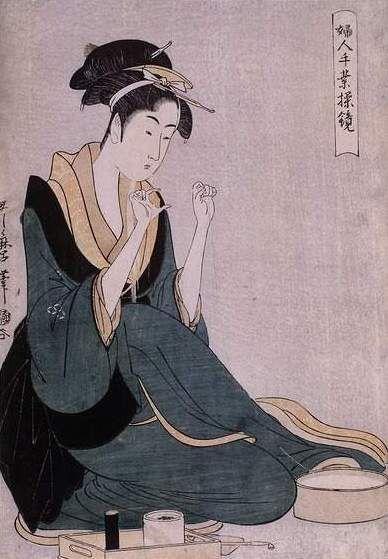 femme_d_vidant_un__cheveau_Utamaro_Kitagawa