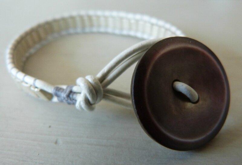 Bracelet Bohème - perles Metallic beiges (5)