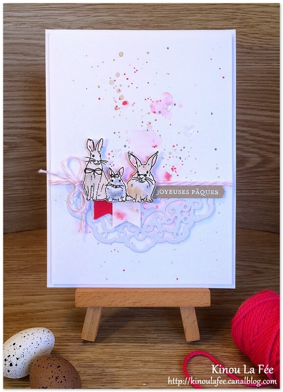Carte Pâques Aquarelle lapin poussin 2