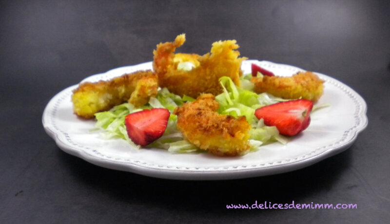 Salade de crevettes panées et sauce cocktail rapide