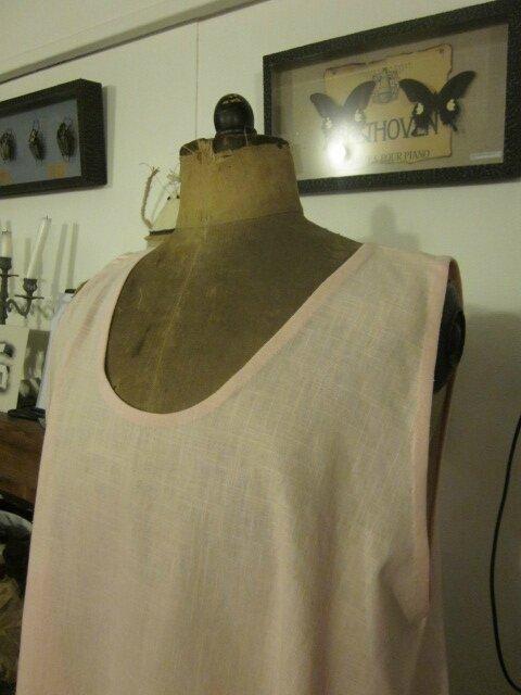 Robe boule HENRIETTE en lin rose dragée (5)