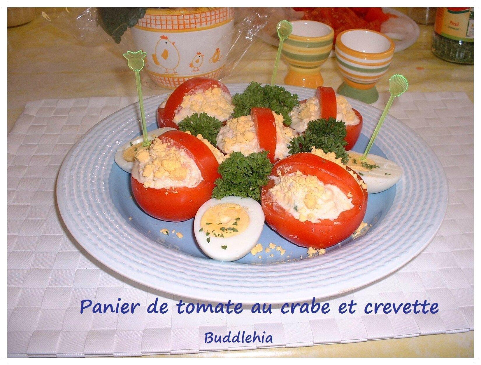 Panier de tomates au crabe et crevettes