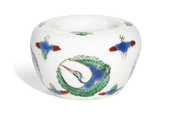 A wucai 'crane' waterpot, 17th century