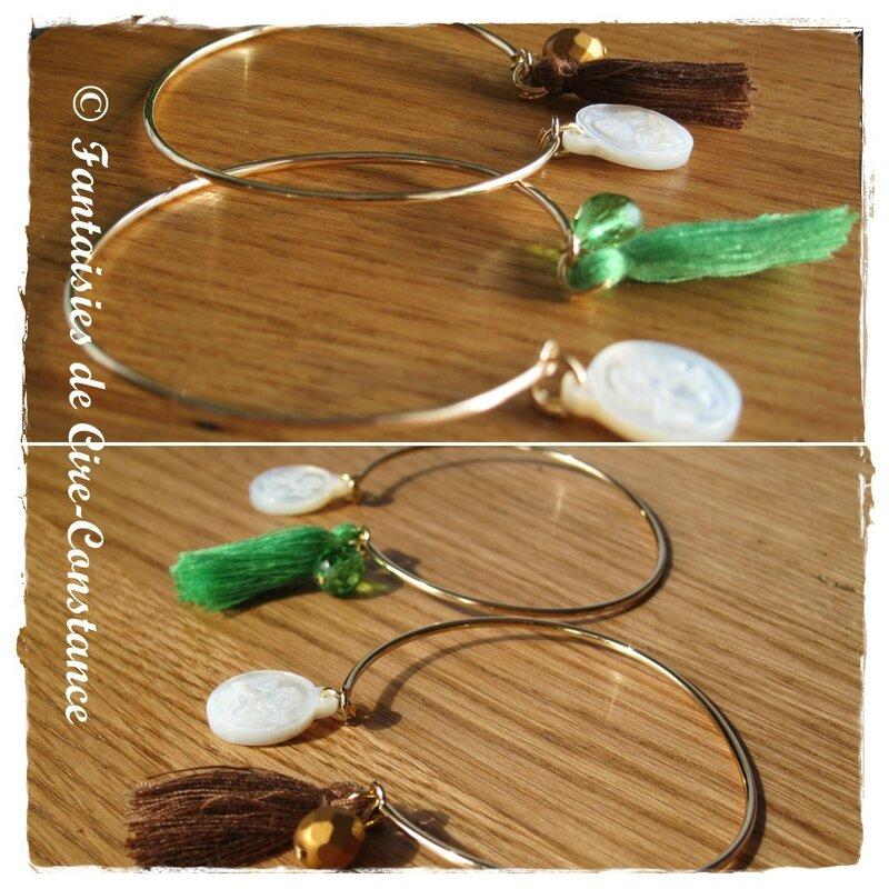 Bracelets jonc fin Chicago PO vert et marron-2
