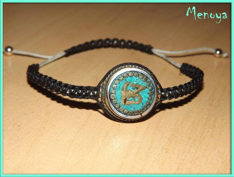 Perle tibétaine laiton et turquoise 01 avec flash