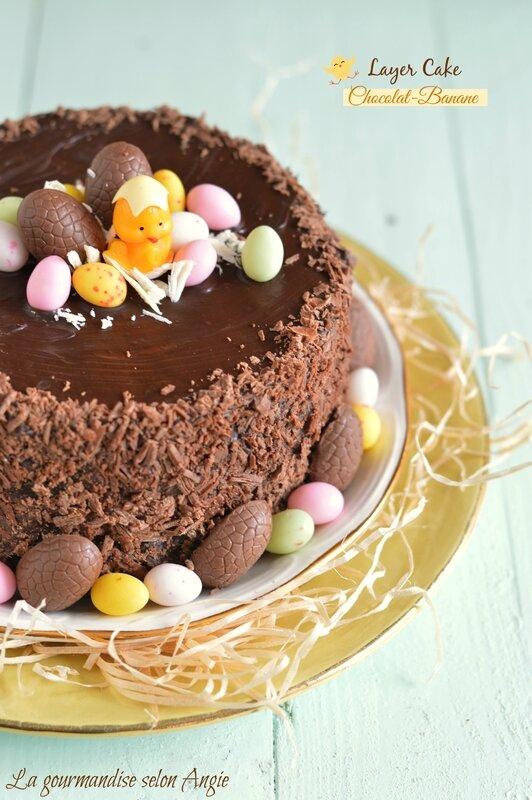 layer cake chocolat banane pâques gateau