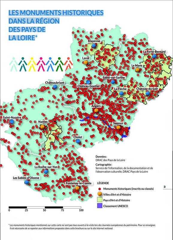 carte LES MONUMENTS HISTORIQUES des Pays de la Loire - Drac