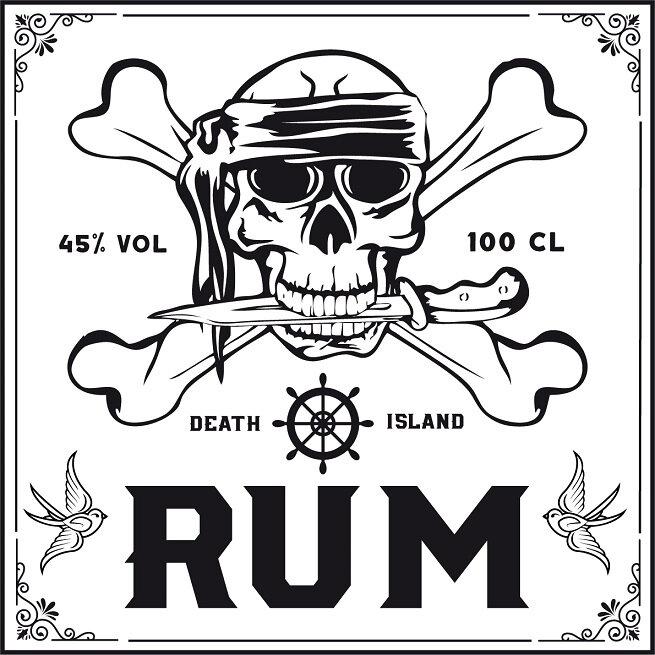 label pirate skull rum printable rhum printable 3
