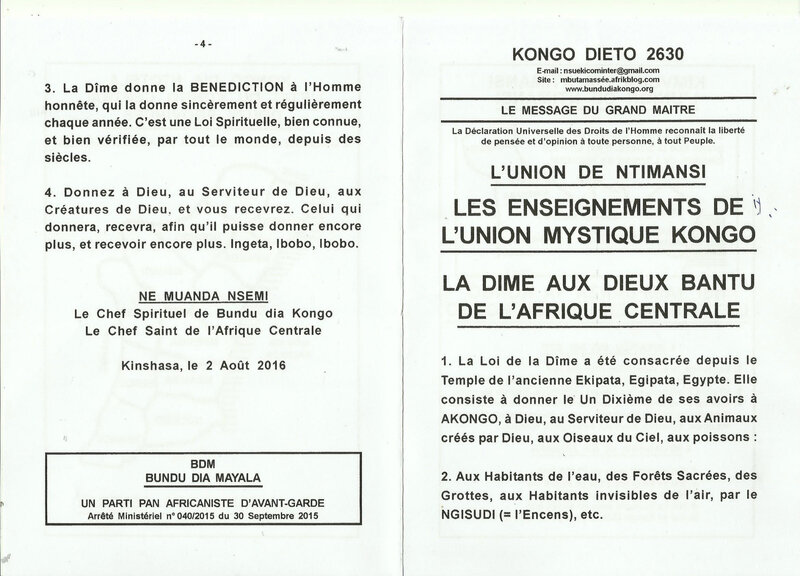 LA DÎME AUX DIEUX BANTU DE L'AFRIQUE CENTRALE a