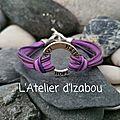 Bracelet hope, love, faith violet