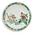 A large famille-verte 'water margin' dish, qing dynasty, kangxi period (1662-1722)