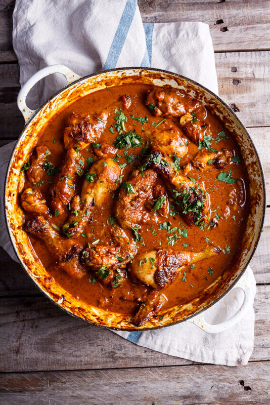 Poulet roti au curry avec yogourt de concombre
