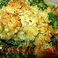 Crumble aux épinards, chèvre frais et bacon