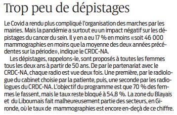 2020 10 19 SO Cancer du sein trop peu de dépistage