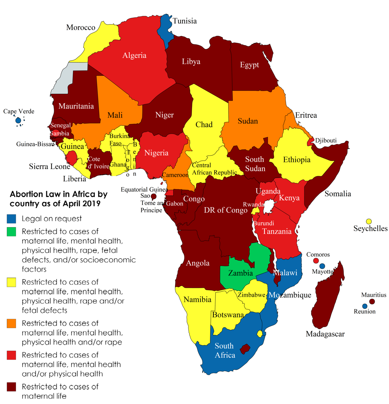 Abortion Law in Africa by country as of April 2019