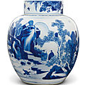 A blue and white ovoid jar, qing dynasty, kangxi period (1662-1722)