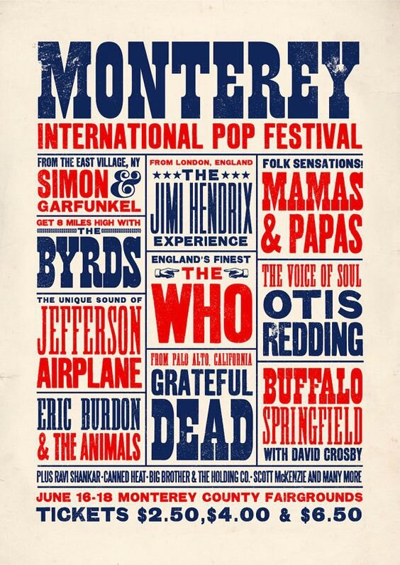 Monterey International Pop Festival 1967 affiche line-up poster