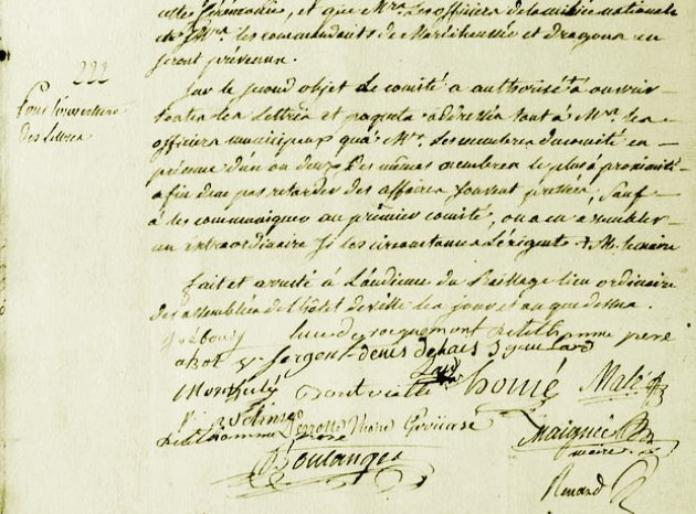 Le 24 août 1789 à Mamers : lois et ouverture du courrier.