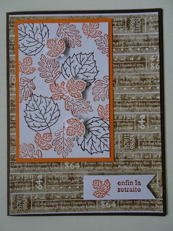 15b Carte Bonne retraite Masking tape et feuillages d'automne