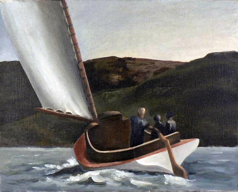 Voilier selon Hopper - Huile sur toile - 6F 41x33 cm