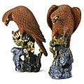 A rare pair of chinese stoneware figures of hawks, 19th century