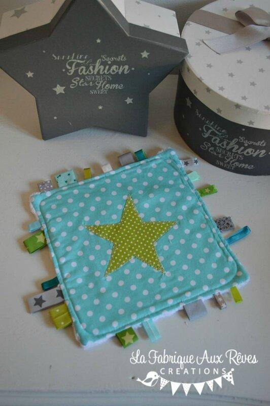 doudous étiquettes bleu turquoise caraibe vert anis gris étoiles pois - cadeaux naissance anis turquoise gris