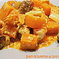 Gratin de butternut au curry (et merguez)