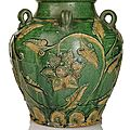 A rare porcelain wine jar with green fahua-type decoration of lotos and leaves, china, ming dynasty, 15th/16th ct