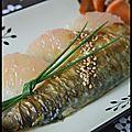 Maquereau à l'asiatique, mariné au gingembre et à la citronnelle accompagné de suprêmes de pamplemousse