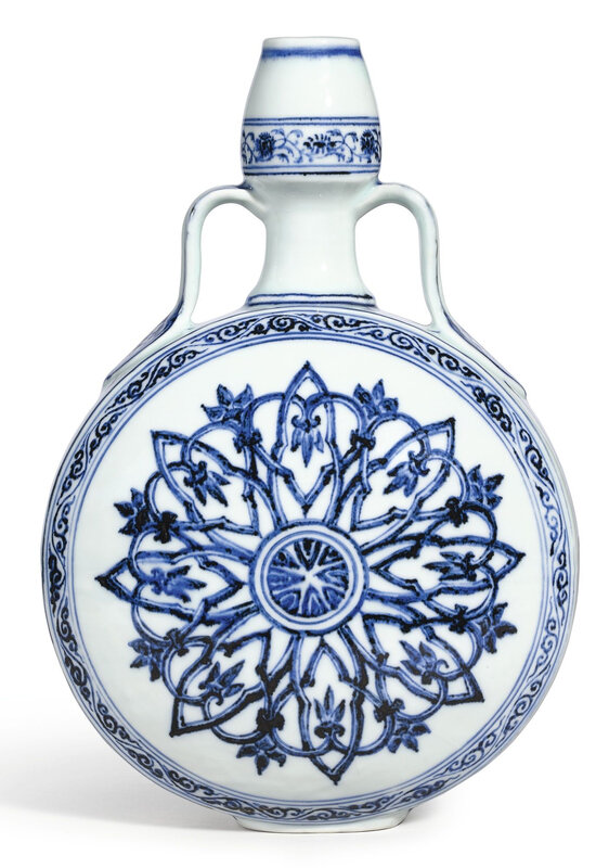 An exceptionally fine blue and white 'rosette' moonflask, bianhu, Ming dynasty, Yongle period (1403-1425)